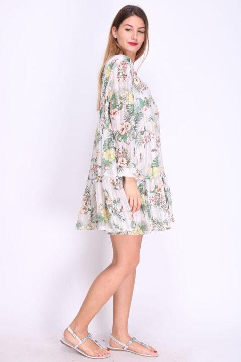 Beiges weißes geblümtes Damen Kleid mit gerafften Details langarm - Casual Blumenmuster Sommerkleid im Blumenprint casual Blumenkleid Freizeitkleid Langarmkleid von REVD'ELLE PARIS - Seitenansicht Ganzkörperansicht