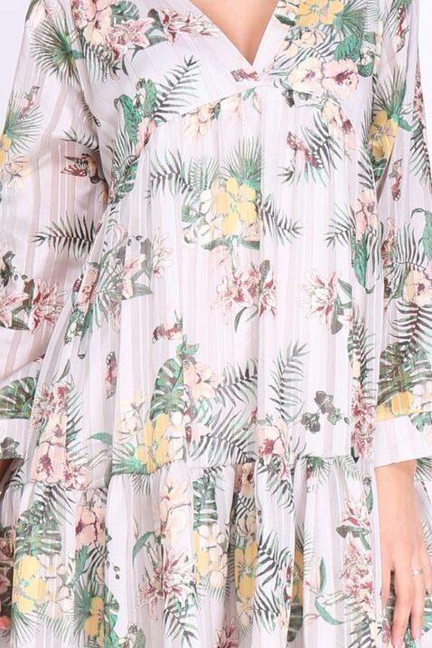 Beiges weißes kurzes Mini Kleid mit Blumenmuster gerafft mit floralen Mustern langarm für Damen - Tunikakleid Blumen-muster Sommerkleid im Blumen-print casual fit Blumenkleid Freizeitkleid Langarmkleid von REVD'ELLE PARIS - Detailansicht