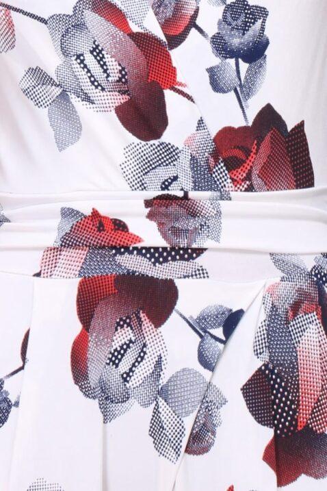 Weißer heller Damen Jumpsuit elegant lang in Wickel Optik mit Blumen Muster ohne Ärmel - Ärmelloser Einteiler langer Sommer Overall mit V-Ausschnitt & bunten Farben Blumenmuster casual elegant Slim fit körperbetont von REVD'ELLE PARIS - Detailansicht