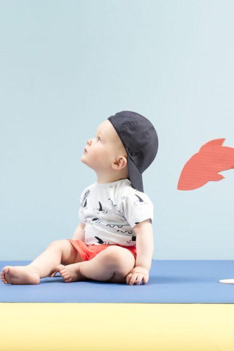 Staunender Junge trägt blauen maritim kurzarm Babybody mit Haifischflossen Haie Ocean Meer Motive - Rote Sommer kurze Hose Short aus Baumwolle mit Patch & elastischen Gummizugbund mit Kordel - Blaue Babymütze Kinder Baseball Cap von Pinokio - Babyphoto