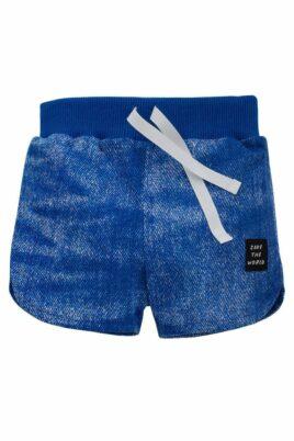 Pinokio blaue Jungen kurze Baby Shorts Hose Sommer im Jeans-Look mit Patch, seitlichen Schlitzen & elastischer Gummizugbund mit Kordel – Bermuda Babyshorts Baumwollshorts Sommerhose Kinderhose unifarben – Vorderansicht
