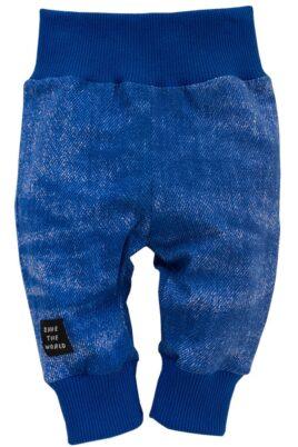 Pinokio blaue Baby Leggings Schlupfhose Sweathose im verwaschenem Denim Jeans-Look, breitem Komfortbund & Bündchen für Jungen – Dunkelblaue Babyhose mit Schlupfbund Schlafhose Kinder Jogginghose – Vorderansicht