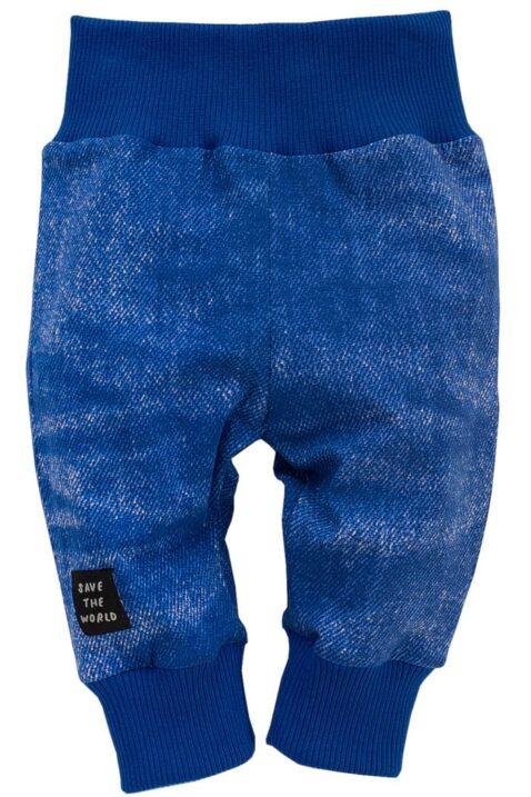 Blaue Baby Leggings Schlupfhose Sweathose im verwaschenem Denim Jeans-Look, breitem Komfortbund & Bündchen für Jungen - Dunkelblaue Babyhose mit Schlupfbund Schlafhose Kinder Jogginghose von Pinokio - Vorderansicht