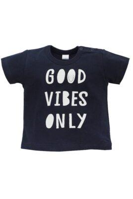 """Pinokio blaues Baby T-Shirt mit Statement """"GOOD VIBES ONLY"""" kurzarm für Jungen – Marineblaues dunkelblaues Rundhals Babyshirt Baumwollshirt mit kurzen Ärmel Kinder Oberteil Sommershirt Beach – Vorderansicht"""