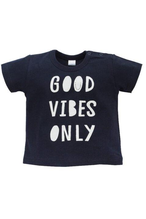 """Blaues Baby T-Shirt mit Statement """"GOOD VIBES ONLY"""" kurzarm für Jungen - Marineblaues dunkelblaues Rundhals Babyshirt Baumwollshirt mit kurzen Ärmel Kinder Oberteil Sommershirt Beach von Pinokio - Vorderansicht"""
