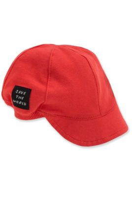 Pinokio rote leichte Kinder Baby Schirmmütze mit Patch Schild & Bündchen für Jungen & Mädchen – Sommer Baby Mütze mit Schild Kappe Sommermütze Cap Kindermütze Sonnenhut – Vorderansicht