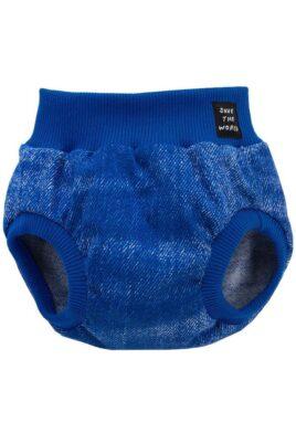 Pinokio blaue Baby Bloomer kurz mit Patch im Jeans-Look für Jungen – Dunkelblaue marineblaue Sommer Windelhose Windelabdeckung Babyhose Überhose mit Bündchen gerippt – Vorderansicht