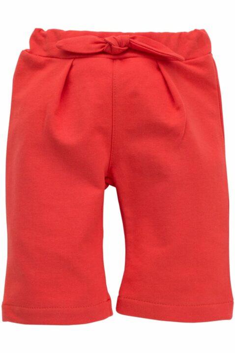Baby rote 7/8 Babyhose Schlupfhose mit Schleife & weiten Beinen Cropped Pants für Mädchen - Sommerhose Baumwollhose mit Zierschleife für den Sommer Kinder unifarben von Pinokio - Vorderansicht