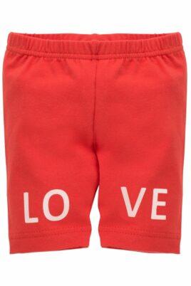 Rote leichte Sommer Baby Leggings Sweathose Schlupfhose mit LOVE Schriftzug & elastischem Schlupfbund für Mädchen - Lange dunkelrote Babyhose Kinder Sommerhose Schlafhose mit Taillenbund für Kinder unifarben - Vorderansicht