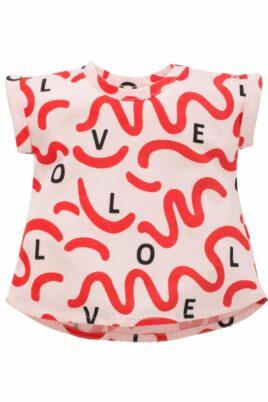 Pinokio rosa weites Baby T-Shirt in Tunikaform & LOVE Wellen Schleifen in Rot für Mädchen Kinder – Hellrosa rotes kurzes Babyshirt Kurzarm Oberteil Tunika Sommershirt Baummwollshirt – Vorderansicht