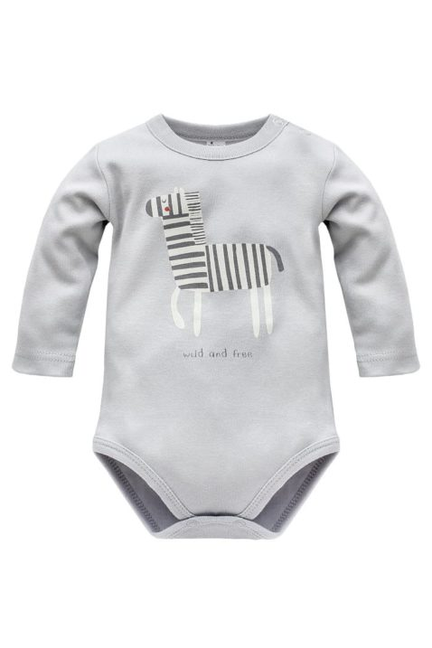 """Grauer Baby Body langarm mit Zebra Zoo Motiv & Schriftzug """"wild and free"""" für Jungen - Hellgrauer Kinder Basic Langarmbody Oberteil Babybody Einteiler Unterwäsche Baumwollbody von Pinokio - Vorderansicht"""