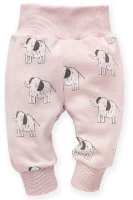 Pinokio rosa Baby Leggings Sweathose Schlupfhose mit Elefanten Motiven Aufdruck, breitem Komfortbund & Bündchen für Mädchen – Hellrosa Tier Zoo Babyhose Schlafhose mit Schlupfbund Kinder Jogginghose – Vorderansicht