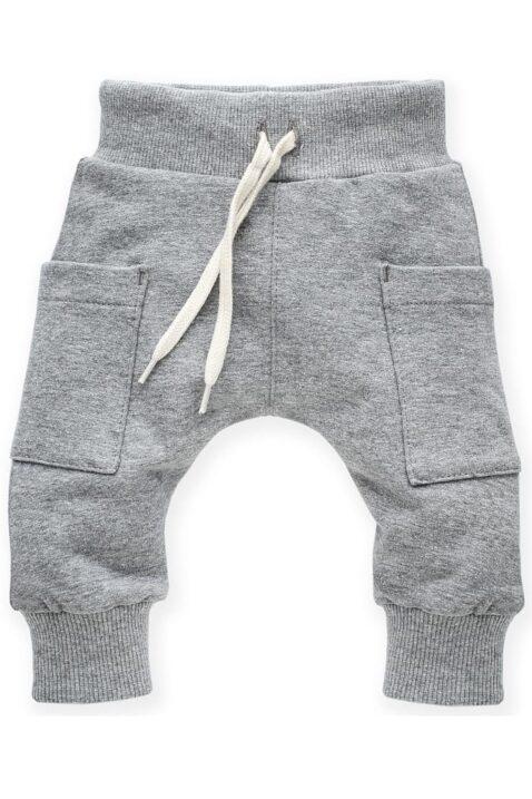 Graue Baby Pumphose Sweatpants Haremshose mit Taschen, Kordel & Bündchen für Jungen & Mädchen - Hellgraue Basic Schlupfhose Babyhose Joggingshose unisex - Vorderansicht