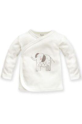 Pinokio weißes Baby Wickelshirt langarm mit Elefant Zoo Motiv für Mädchen – Baby Kinder Wickelhemd Wickeljacke Oberteil unifarben Flügelhemdchen mit Tier Unterwäsche – Vorderansicht