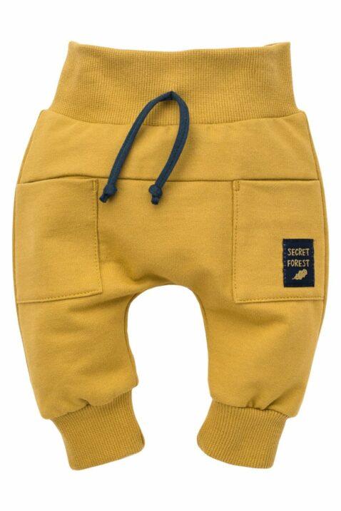 Gelbe Baby Pumphose Haremshose mit Taschen, Patch, kontraststarker Kordel & Bündchen für Jungen - Currygelbe senfgelbe Basic Sweathose Schlupfhose Babyhose von Pinokio - Vorderansicht