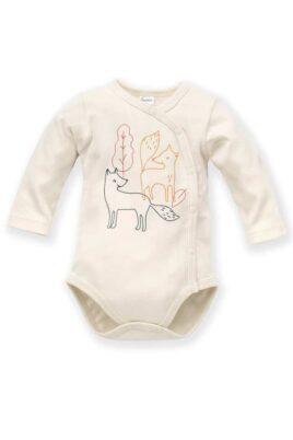 Pinokio weißer Baby Wickelbody langarm mit Füchse & Blätter für Jungen – Body Tier Langarmbody mit langen Ärmel Baumwollbody in ecru – Vorderansicht