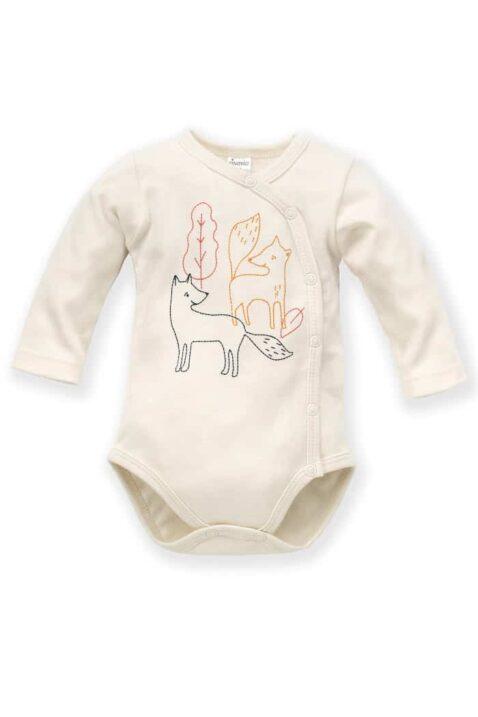 Weißer Baby Wickelbody langarm mit Füchse & Blätter für Jungen - Body Tier Langarmbody mit langen Ärmel Baumwollbody in ecru von Pinokio - Vorderansicht