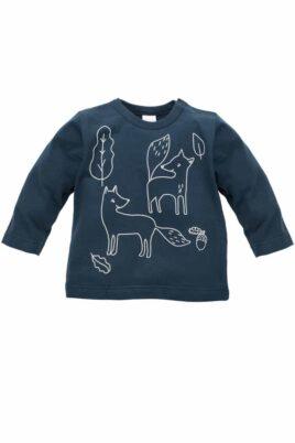 Pinokio blaues Baby Langarmshirt Longsleeve Sweatshirt mit Füchsen, Blätter & Eicheln für Jungen – Marine Oberteil langarm Kindershirt Babyshirt – Vorderansicht