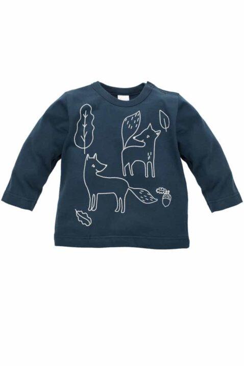Blaues Baby Langarmshirt Longsleeve Sweatshirt mit Füchsen, Blätter & Eicheln für Jungen - Marine Oberteil langarm Kindershirt Babyshirt von Pinokio - Vorderansicht