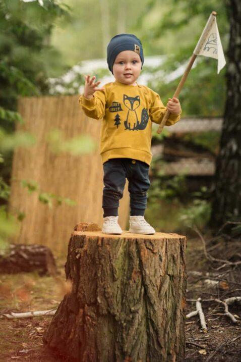 Stehender Baby Junge mit Fahne auf Baumstamm trägt gelben Sweatshirt Pullover Oversize mit Knöpfe & Fuchs - Leggings blau mit Knöpfe, Eicheln, Blätter - Dunkelblaue Babymütze mit Patch von Pinokio - Kinderphoto Babyphoto