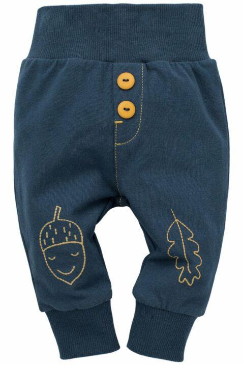 Blaue Baby Leggings Sweathose Schlupfhose mit gelben Knöpfen, Blatt & Eichel, breitem Komfortbund & Bündchen für Jungen - Schlafhose mit Schlupfbund für Kinder von Pinokio - Vorderansicht