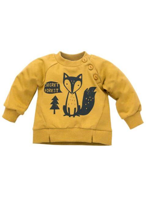 Gelbes Baby Sweatshirt Oberteil mit Fuchs & Knöpfe Oversize für Jungen - Currygelber Babypullover aus Baumwolle für Kinder Herbst Winter von Pinokio - Vorderansicht