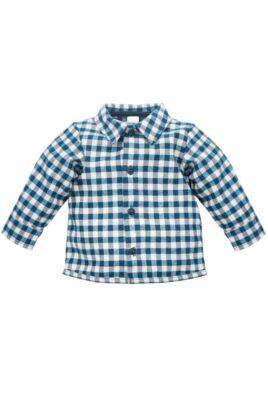 Pinokio weiß-marineblaues Baby Karohemd Langarm mit Fuchs Patch, Knöpfen & Kragen für Jungen – Kariertes Kinder Hemd für Herbst Winter – Vorderansicht