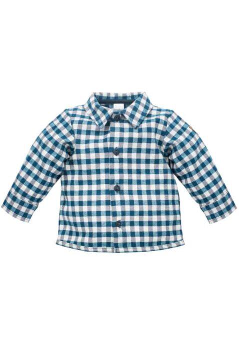 Weiß-marineblaues Baby Karohemd Langarm mit Fuchs Patch, Knöpfen & Kragen für Jungen - Kariertes Kinder Hemd für Herbst Winter von Pinokio - Vorderansicht