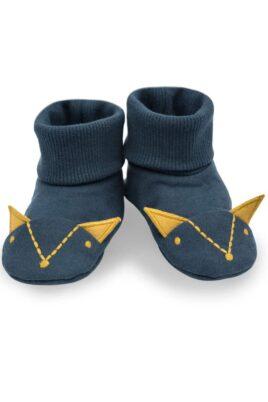 Pinokio blaue Baby Schlupfschuhe Hausschuhe mit Umschlag Bündchen in Füchse Form mit Ohren für Jungen – Basic Krabbelschuhe Babyschuhe – Vorderansicht