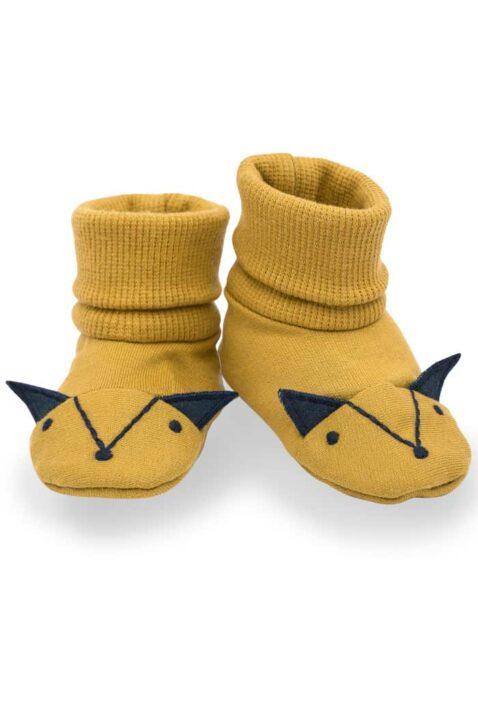 Gelbe Baby Schlupfschuhe Hausschuhe mit Umschlag Bündchen in Fuchs Form mit Ohren für Jungen - Currygelbe senfgelbe Basic Krabbelschuhe Babyschuhe von Pinokio - Vorderansicht