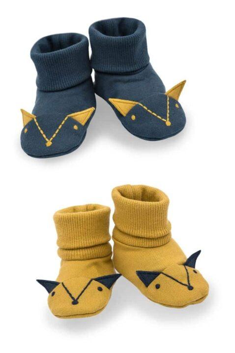 Set gelbe & blaue Babyschuhe Baby Schlupfschuhe Hausschuhe mit Umschlag Bündchen in Fuchs Form mit Ohren für Jungen - Currygelbe senfgelbe Krabbelschuhe von Pinokio - Vorderansicht