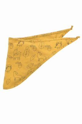 Pinokio gelbes Baby Halstuch Dreieckstuch Sabbertuch mit Füchse, Uhu & Blätter für Jungen – Currygelbes saugstarkes Basic Sabberlätzchen für Kinder – Vorderansicht
