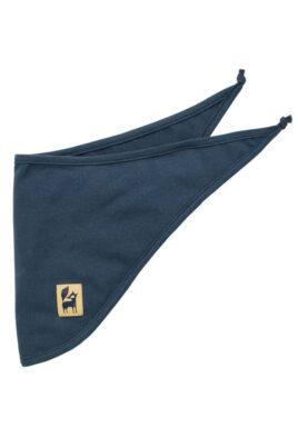 Pinokio blaues Baby Halstuch Dreieckstuch Sabbertuch mit Fuchs Patch für Jungen – Saugstarkes marineblaues Basic Sabbertuch für Kinder – Vorderansicht
