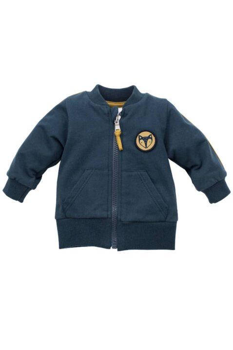 Blaue Baby Sweatjacke Pullover mit Streifen, Taschen, Fuchs Patch, Reißverschluss aus Baumwolle für Jungen - Kinder Babyjäckchen Oberteil von Pinokio - Vorderansicht