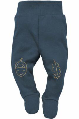 Blaue Baby Strampelhose mit Fuß, Komfortbund, Motive Eichel & Blatt am Knie für Jungen - Schlafhose mit Füßen Halb-Strampler Baumwollhose unifarben von Pinokio - Vorderansicht