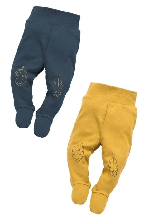 Set blaue & currygelbe Baby Strampelhose mit Fuß, Motive Eichel & Blatt für Jungen - Stramplerhose mit Füßen & Komfortbund unifarben Halb-Strampler aus Baumwolle von Pinokio - Vorderansicht