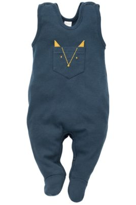 Pinokio blauer Baby Strampler mit Fuß & Brusttasche in Fuchs Form mit Ohren in Currygelb aus Baumwolle für Jungen – Ärmelloser Einteiler Strampelanzug mit Füßen Babystrampler Strampler-Anzug – Vorderansicht