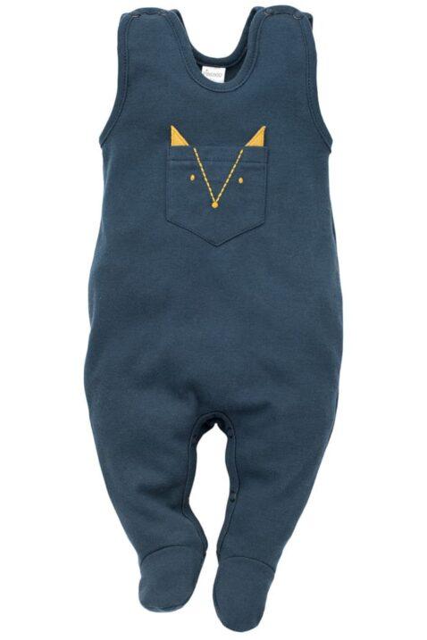 Blauer Baby Strampler mit Fuß & Brusttasche in Fuchs Form mit Ohren in Currygelb aus Baumwolle für Jungen - Ärmelloser Einteiler Strampelanzug mit Füßen Babystrampler Strampler-Anzug von Pinokio - Vorderansicht