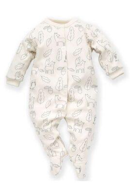 Pinokio weisser Baby Langarm Schlafoverall mit Füßen, Füchse, Eicheln, Blätter, Käuze & Uhus für Jungen – Schlafstrampler Kinderschlafanzug mit Fuß – Vorderansicht