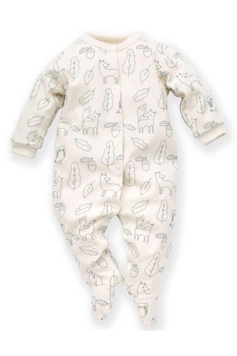 Weisser Baby Langarm Schlafoverall mit Füßen, Füchse, Eicheln, Blätter, Käuze & Uhus für Jungen - Schlafstrampler Kinderschlafanzug mit Fuß von Pinokio - Vorderansicht
