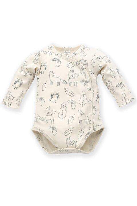 Weißer Baby Wickelbody langarm mit Füchse, Uhus, Käuze, Blätter & Eicheln für Jungen - Body Langarmbody mit langen Ärmel Babybody aus Baumwolle von Pinokio - Vorderansicht