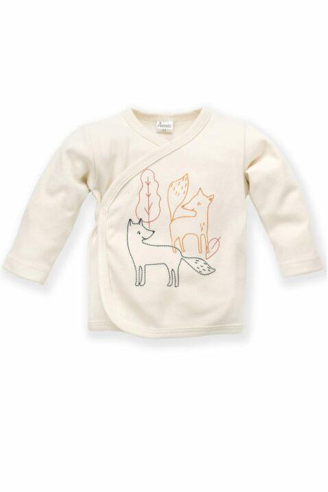 Weißes Baby Wickelshirt langarm mit Füchse & Blätter für Jungen - Kinder Wickelhemd Flügelhemd Wickeljacke Langarmshirt Unterwäsche von Pinokio - Vorderansicht