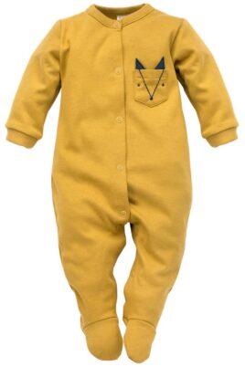 Pinokio currygelber Baby Langarm Schlafoverall mit Füßen & Fuchs Brusttasche für Jungen – Senfgelber Schlafstrampler Kinder Schlafanzug mit Fuß – Vorderansicht