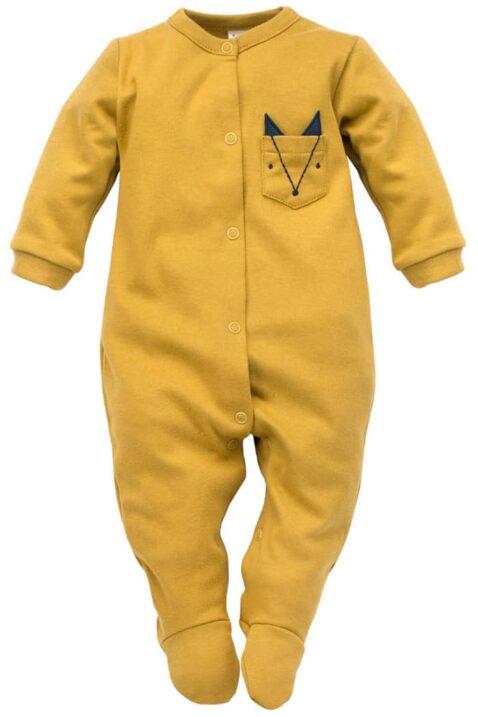 Currygelber Baby Langarm Schlafoverall mit Füßen & Fuchs Brusttasche für Jungen - Senfgelber Schlafstrampler Kinder Schlafanzug mit Fuß von Pinokio - Vorderansicht