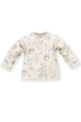 Pinokio weißer Baby Cardigan langarm Oberteil mit Füchse, Eulen, Uhu, Kauz, Blätter, Eicheln für Jungen & Mädchen – Babyjäckchen Sweatshirt – Vorderansicht
