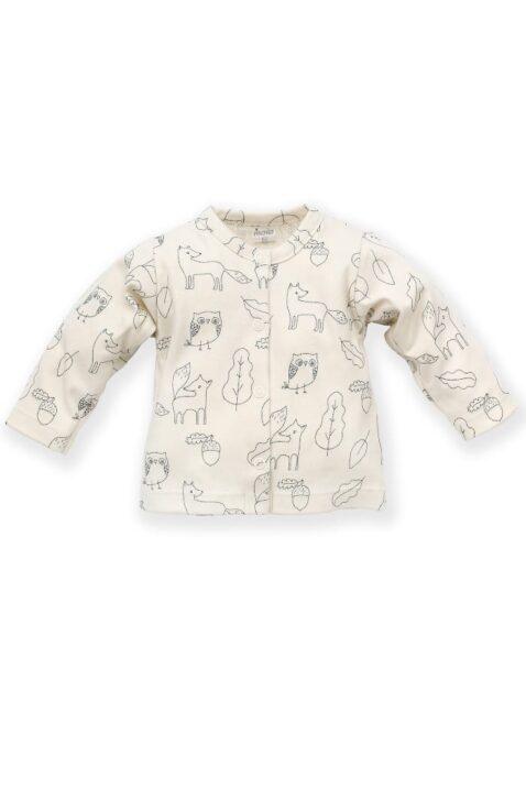 Weißer Baby Cardigan langarm Oberteil mit Füchse, Eulen, Uhu, Kauz, Blätter, Eicheln für Jungen & Mädchen - Babyjäckchen Sweatshirt von Pinokio - Vorderansicht