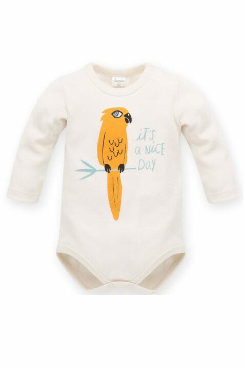 """Weißer Baby Body langarm mit Papagei & Schriftzug """"IT´S A NICE DAY"""" aus Baumwolle für Jungen & Mädchen - Kinder Langarmbody Babybody Baumwollbody von Pinokio - Vorderansicht"""