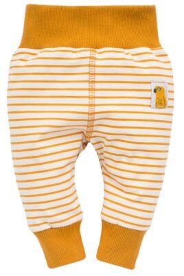 Pinokio currygelbe Baby Leggings Sweathose Schlupfhose mit Streifen, Papagei Patch, breitem Komfortbund & Bündchen für Jungen & Mädchen – Vorderansicht