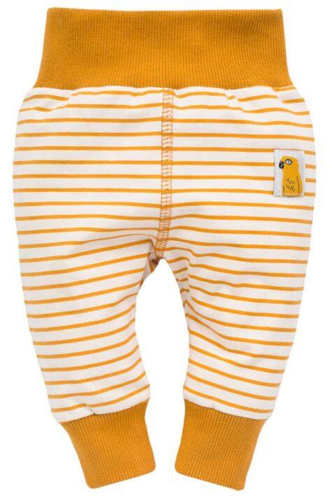 Currygelbe Baby Leggings Sweathose Schlupfhose mit Streifen, Papagei Patch, breitem Komfortbund & Bündchen für Jungen & Mädchen von Pinokio - Vorderansicht