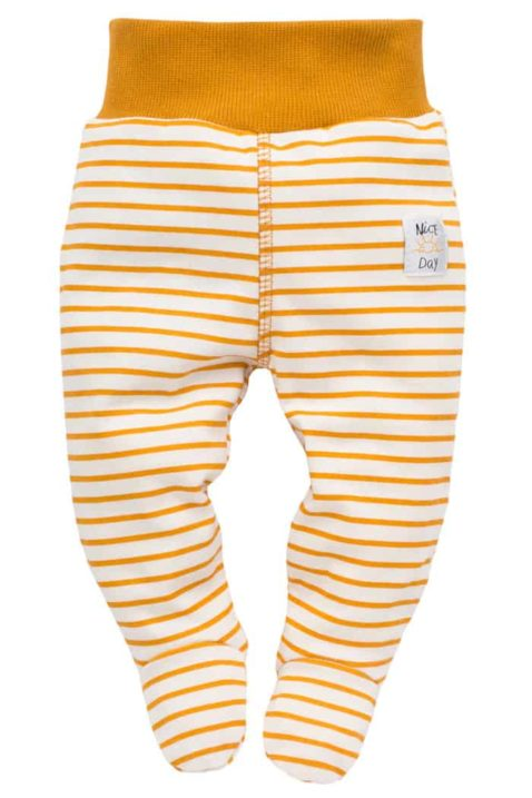 Currygelbe gestreifte Baby Strampelhose mit Fuß & Patch NICE DAY für Mädchen & Jungen - Senfgelbe Schlafhose mit Komfortbund Halb-Strampler Stramplerhose von Pinokio - Vorderansicht